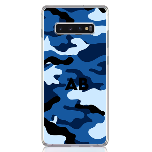 Camouflage blue letter