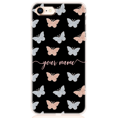 Glitter Butterfly Rose Silver Name